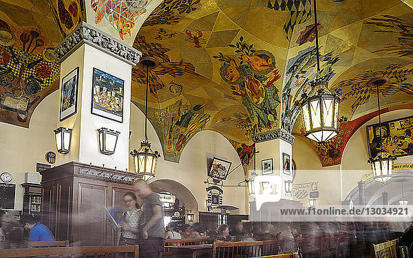 Long exposure of famous Hofbrauhaus Beer Hall in Munich  Bavaria  Germany