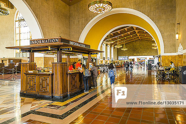 View of interior of Union Station  Los Angeles  California  United States of America