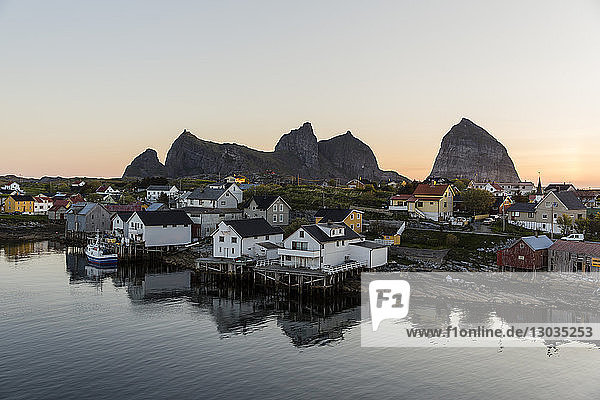 Sunset in the fishing town of Traena (Trana)  located on the Arctic Circle  Norway  Scandinavia