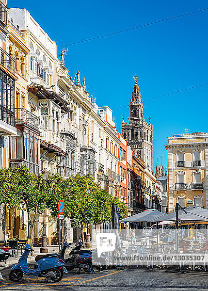 Traditional Andalusian architecture with Gothic-Moorish belltower of Seville Cathedral in background  Seville  Andalusia  Spain