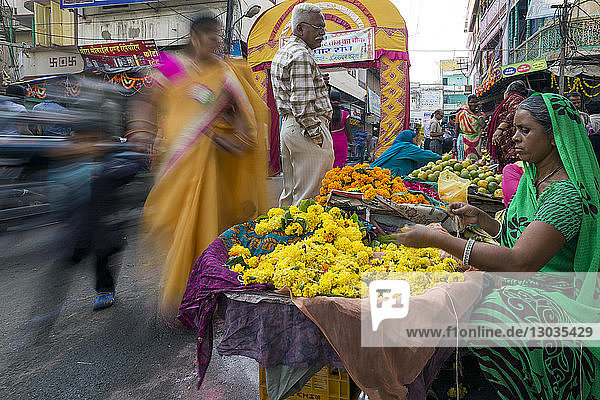 Busy street scene in the Old City  Udaipur  Rajasthan  India