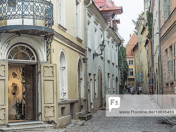 Winding medieval street  Old Town  Tallinn  Estonia  Baltics