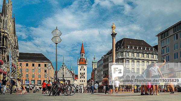 Tourists at Marienplatz  Munich  Bavaria  Germany