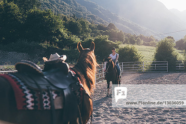 Junge Frau zu Pferd in ländlicher Reitarena  Primaluna  Trentino-Südtirol  Italien