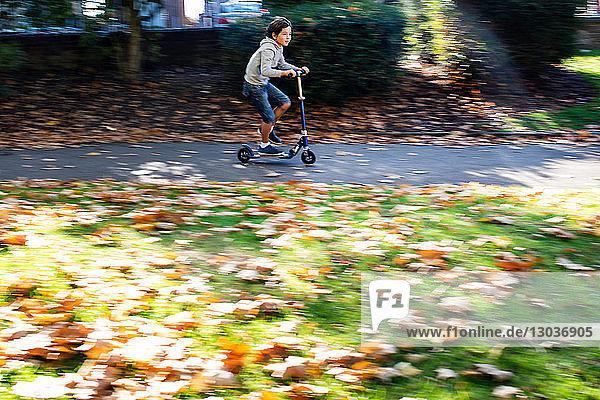 Junge fährt Roller im Park