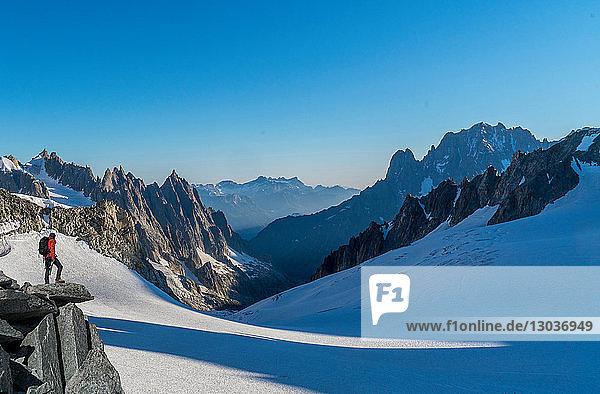 Hiker enjoying scenery  Chamonix-Mont-Blanc  Rhone-Alpes  France