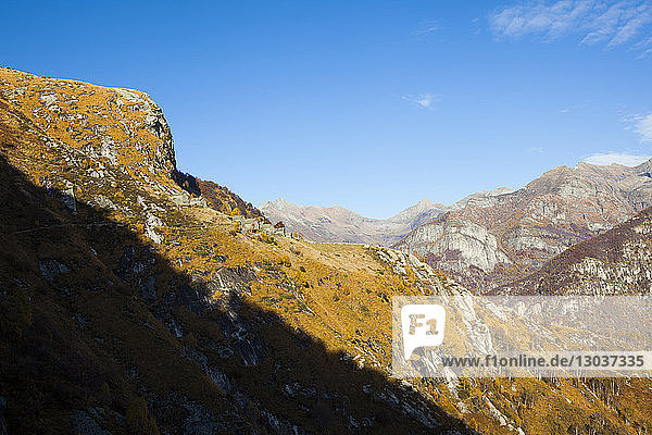 Scenic landscape with view of old houses in mountains  Monte del Corgel  Corippo  Ticino Canton  Switzerland