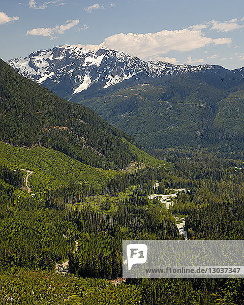 Rutherford Creek runs down the center of a lush green valley and evidence of logging can be seen on the mountains of both sides  Pemberton  British Columbia  Canada