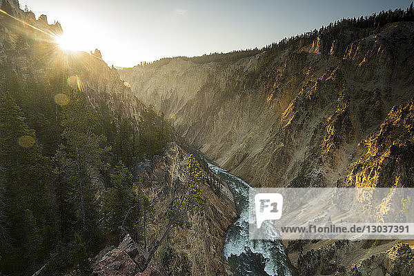Scenic landscape with view of the Snake River Canyon below the Lower Yellowstone Falls  Yellowstone National Park  Wyoming  USA