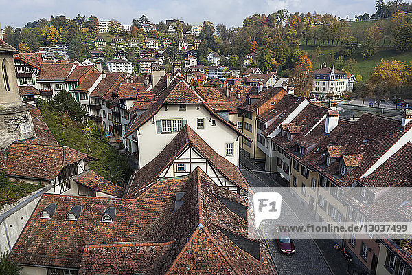 Townscape with view of street and houses in†Mattenenge†from†Nydeggbrucke  Bern  Switzerland