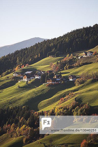 High angle view of houses on mountains