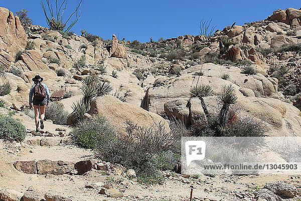Rückansicht einer an Felsen vorbei wandernden Wanderin im Joshua-Tree-Nationalpark