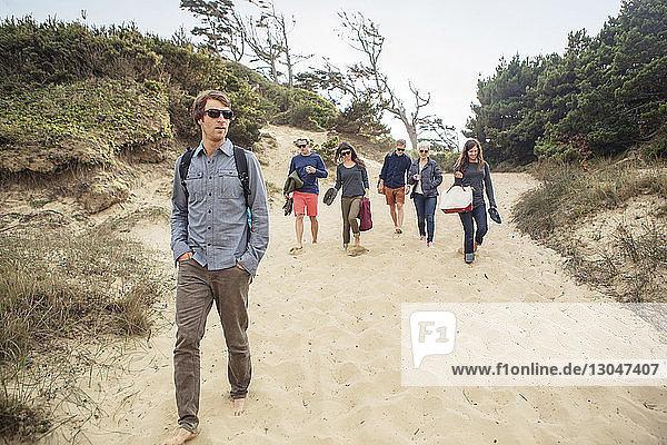 Freunde gehen am Strand auf Sand