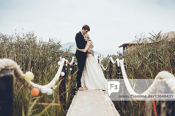 Paar umarmt sich im Stehen auf einem Steg inmitten von Pflanzen