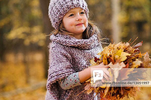 Kleines Mädchen mit einer Handvoll Herbstblätter