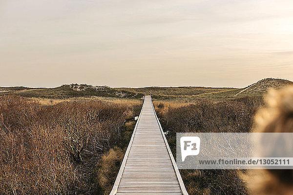 Landschaftsansicht mit Dünenpromenade an der Küste  Menemsha  Martha's Vineyard  Massachusetts  USA