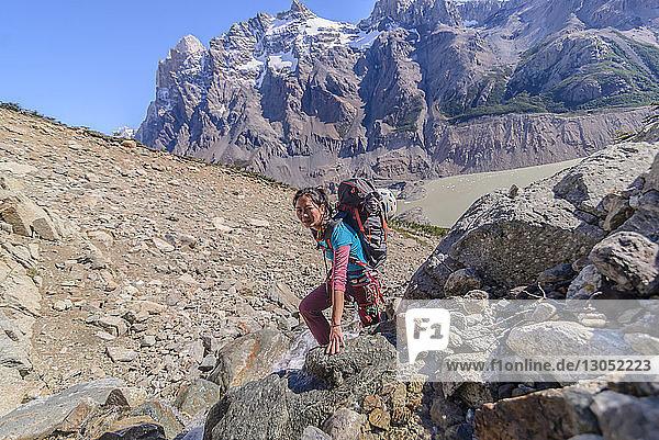 Rock climbing in El Chaltén  south Patagonia  Argentina
