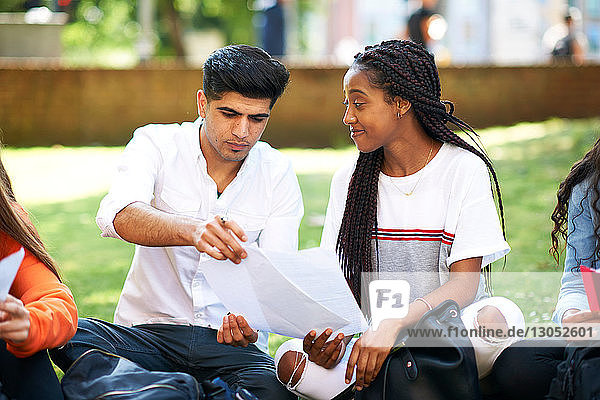 Female and male higher education students discussing paperwork on college campus lawn