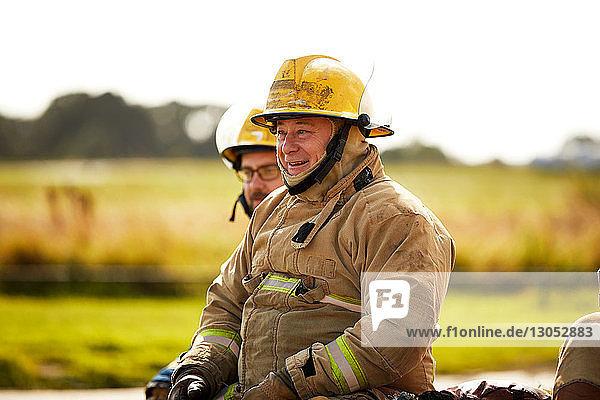 Firemen training  firemen taking a break at training facility