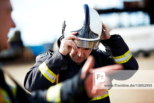 Firemen in discussion in training centre  Darlington  UK