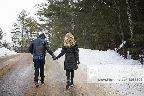 Rückansicht eines Paares  das sich beim Gehen auf der Straße an den Händen hält