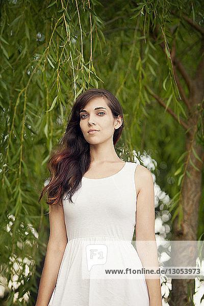 Porträt einer jungen Frau an einem Baum stehend