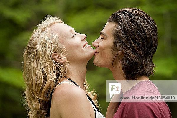 Man kissing girlfriend on chin