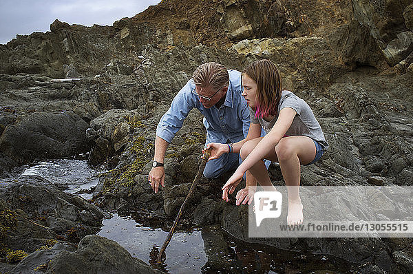 Girl with grandfather looking into water while crouching on rock at beach