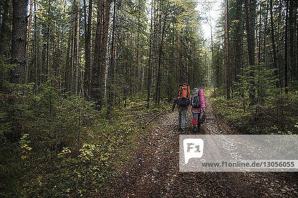 Männliche Wanderer mit Rucksack auf unbefestigtem Weg inmitten von Bäumen im Wald