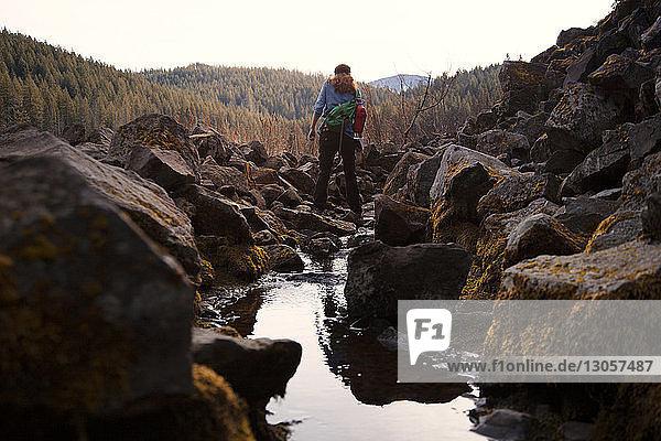 Rückansicht eines Wanderers  der einen Bach inmitten von Felsen im Wald überquert