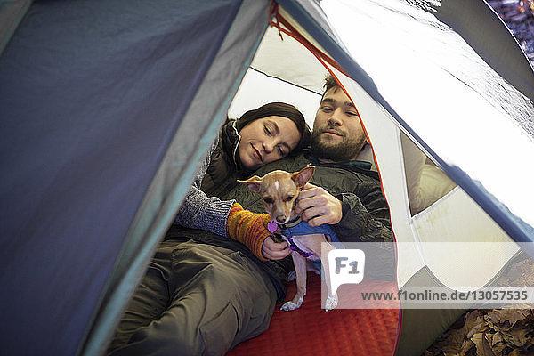 Ehepaar mit Hund entspannt sich im Zelt