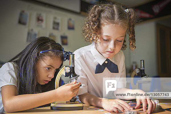 Girl using microscope by friend at table in laboratory