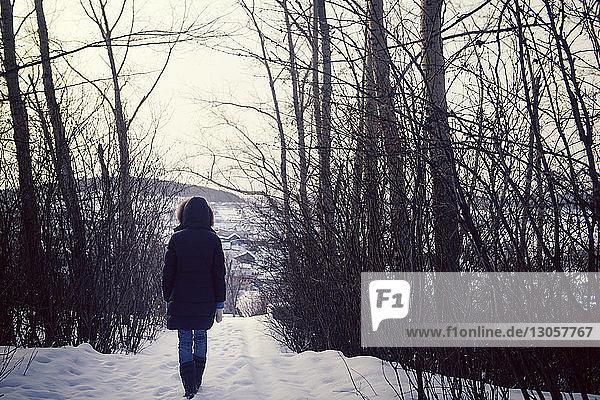 Rückansicht einer Frau  die auf einem schneebedeckten Feld läuft