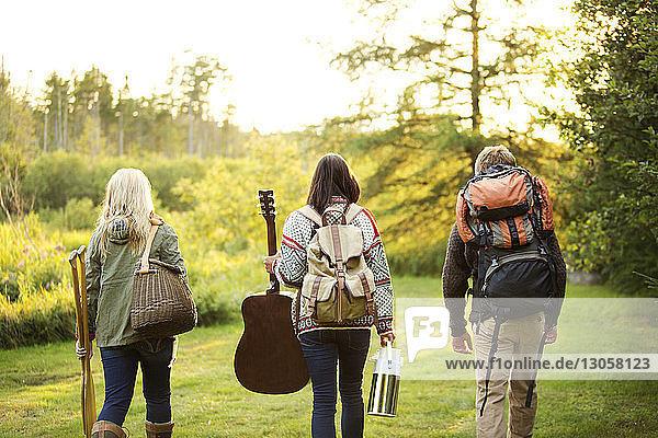 Rückansicht von Freunden  die beim Spaziergang auf dem Campingplatz eine Tasche tragen