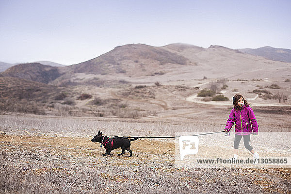 Mädchen mit Hund beim Spaziergang auf dem Feld