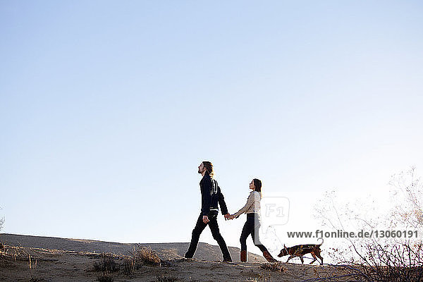 Couple holding hands while walking with dog on field against clear sky
