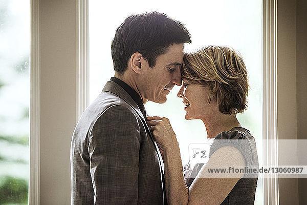 Frau stellt die Krawatte des Mannes im Stehen zu Hause ein