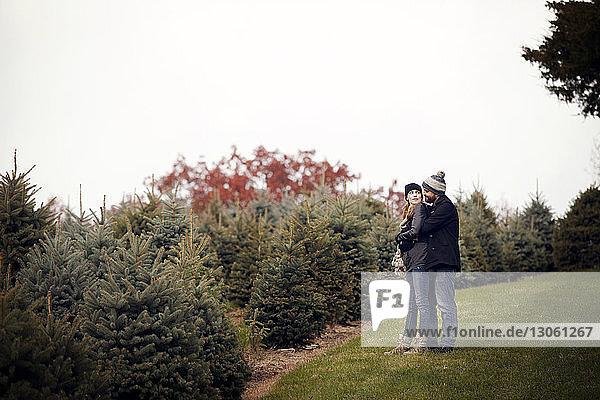 Liebespaar auf dem Feld beim Weihnachtsbaum-Bauernhof