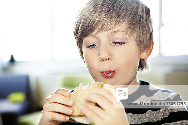 Close-up of boy eating sandwich at home