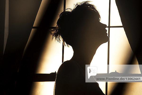 Scherenschnittfrau steht zu Hause am Fenster