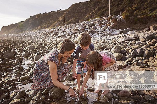 Glückliche Familie taucht am Strand den Finger ins Wasser