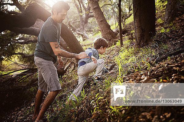 Mann hilft Sohn beim Klettern im Wald