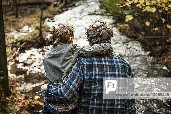 Rückansicht von Vater und Sohn am Fluss sitzend