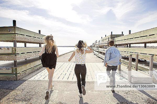 Rückansicht von Freunden  die auf dem Pier gegen den Himmel rennen