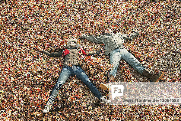 High angle view of couple lying on field