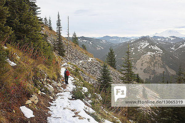Female hiker on mountain