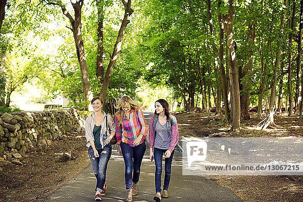 Friends walking on road in forest