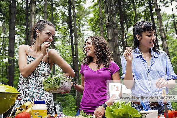 Glückliche Freunde stehen am Picknicktisch im Wald
