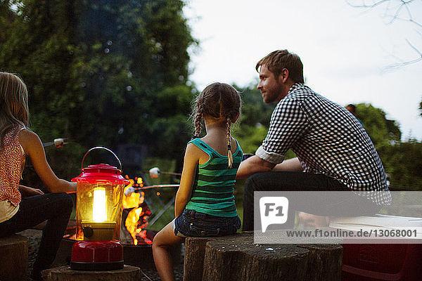 Vater und Töchter sitzen im Sommerlager an einer Laterne und rösten Marshmallows Vater und Töchter sitzen im Sommerlager an einer Laterne und rösten Marshmallows