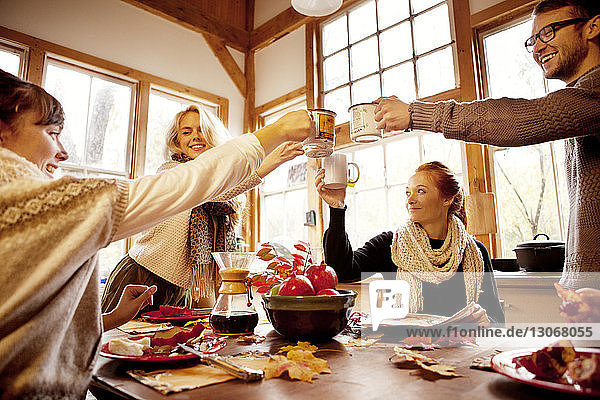 Friends raising celebratory toast at table in home